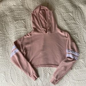 Tops - Cropped Pink Hoodie with Athletic Stripe EUC